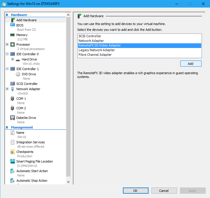 Adding a RemoteFX Adapter