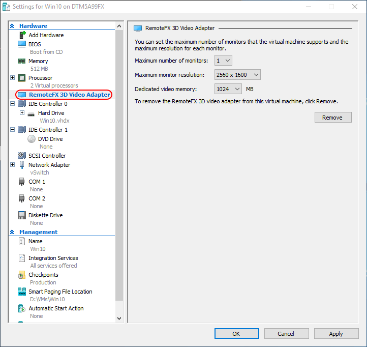 RemoteFX Adapter Settings
