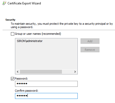 Exported Certificate Security