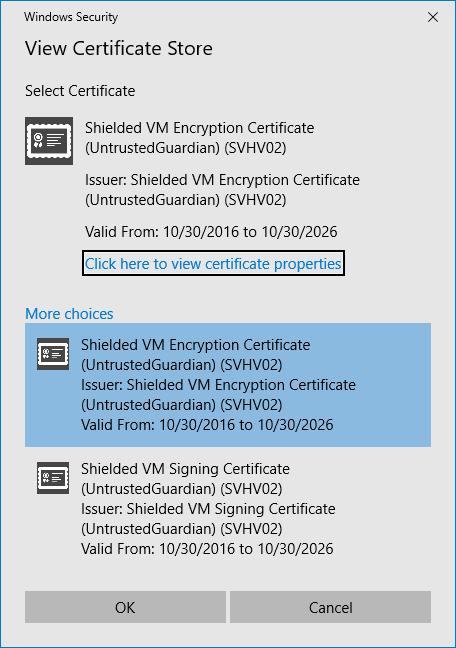VM Shielding Certificates