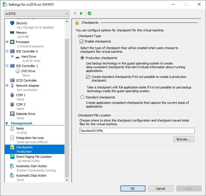 Checkpoint Settings in Hyper-V 2016