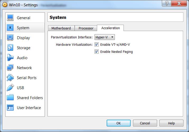 VirtualBox Acceleration Settings