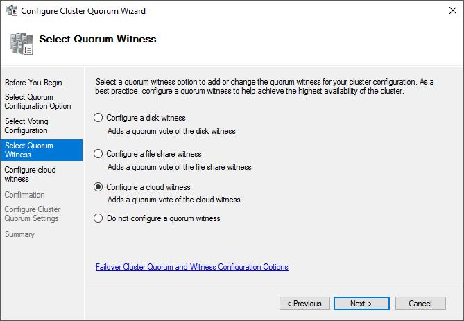 Azure Witness Configuration Screen