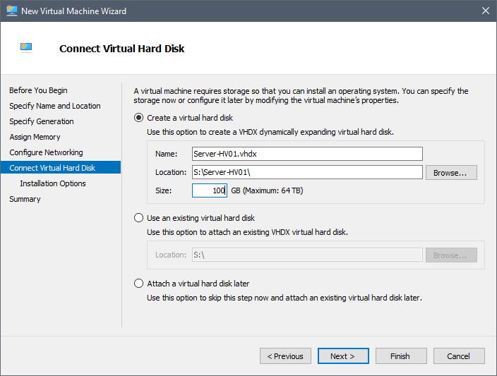 Create Nested Hyper-V virtual hard disk