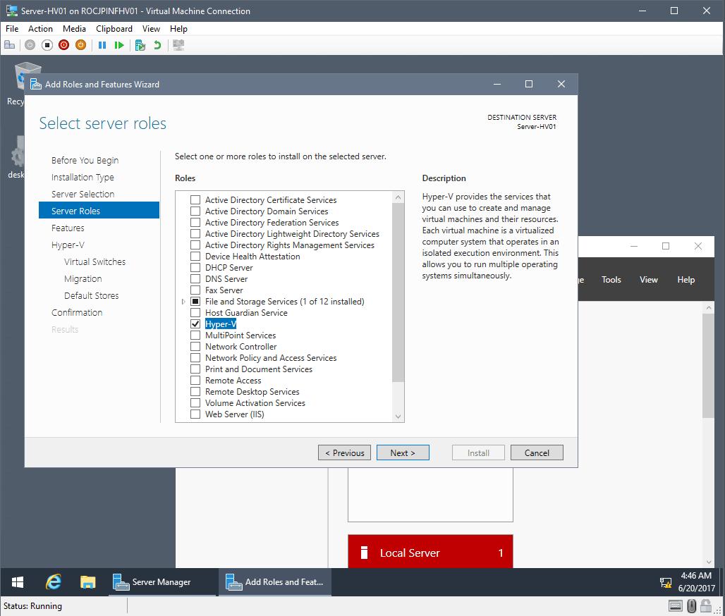Create Nested Hyper-V server roles