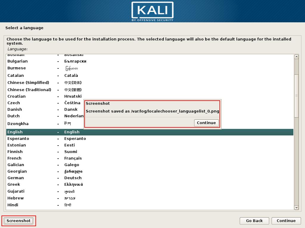 kali linux language