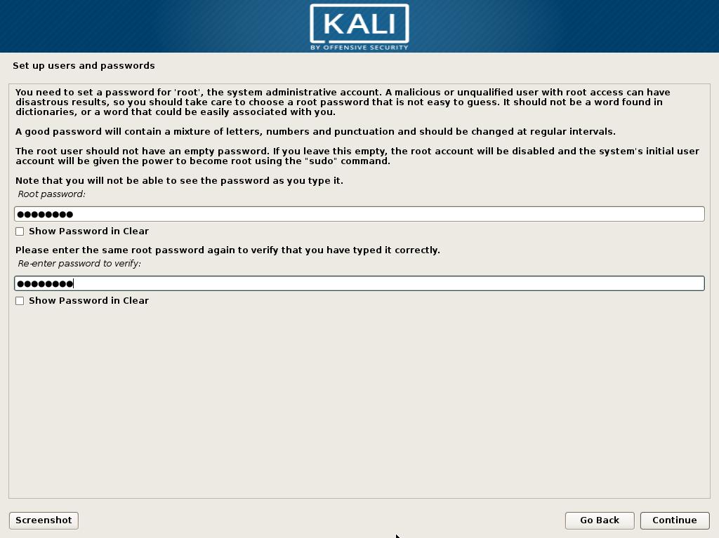 kali linux password