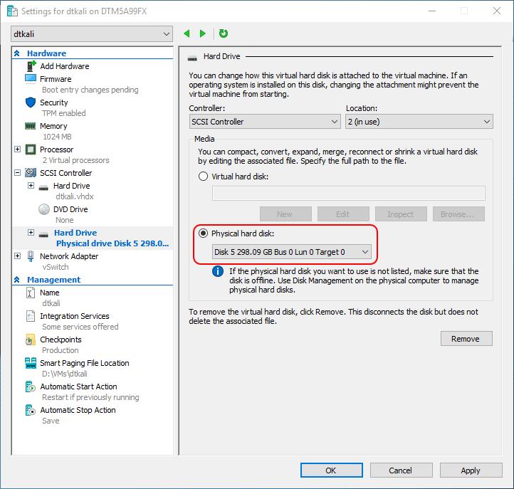 select physical hard disk