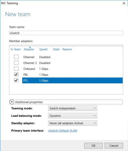 NIC Teaming/New team