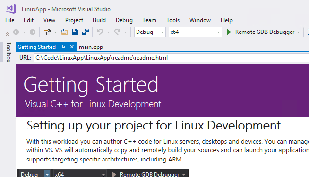 visual c++ for linux development in visual studio