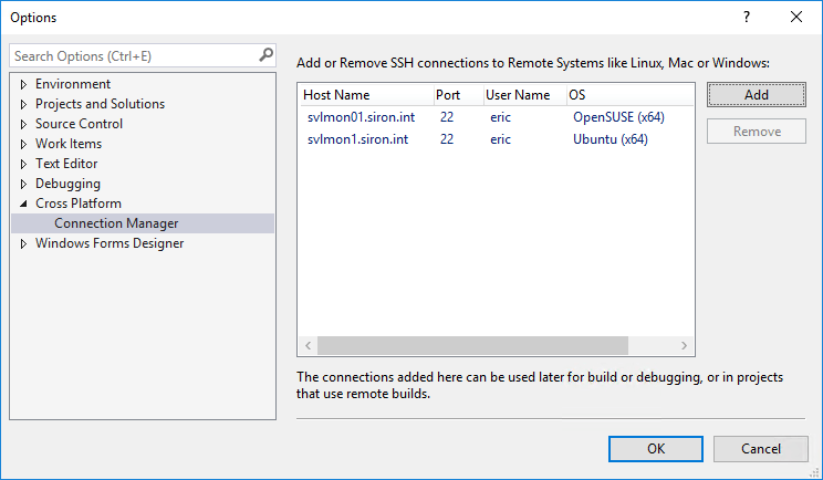Visual Studio connection manager
