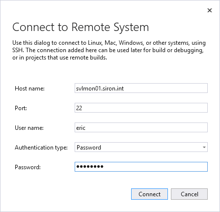 Visual studio connect to Remote System