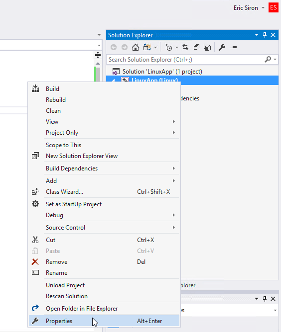 Selecting a Target System and Changing Linux Build Options in Visual Studio