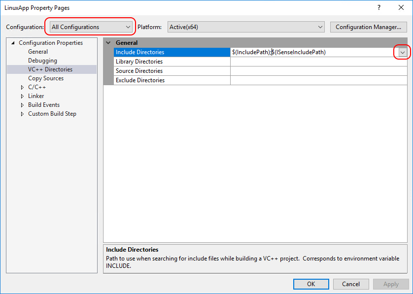 include directories that Visual Studio knows