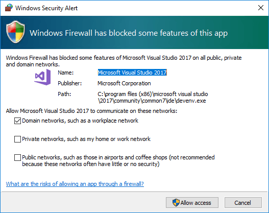 Visual Studio firewall