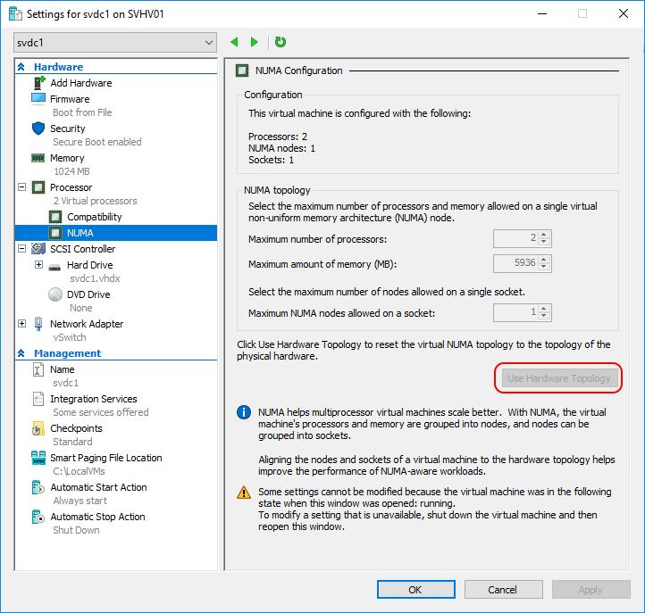 best pratices for optimizing hyper-v performance - settings NUMA configuration