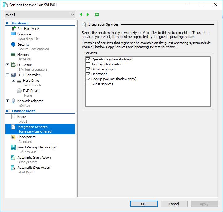 Integration Services for Hyper-V 2016 Management