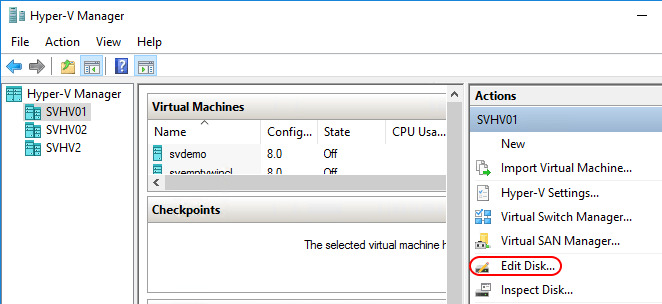 Resize a Disconnected Virtual Hard Disk with Hyper-V Manager
