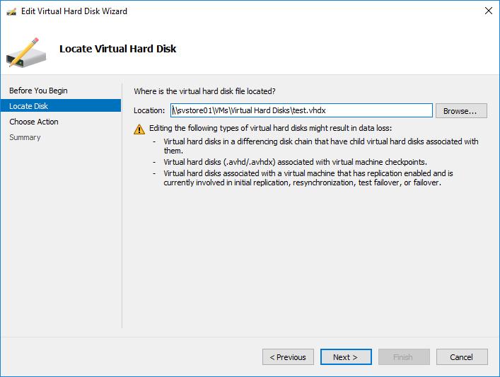 locate virtual hard disk