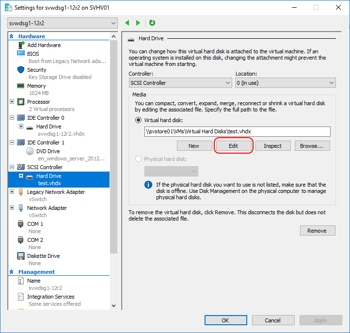 Resize aVirtual Machine's Virtual Hard Disk with Hyper-V Manager