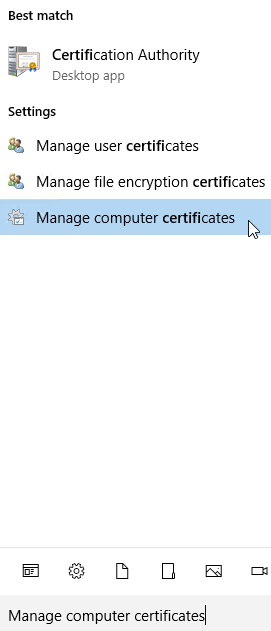 Manage computer certificates