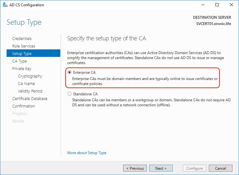 setup type AD CS Configuration