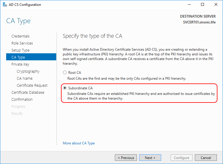 CA type AD CS Configuration