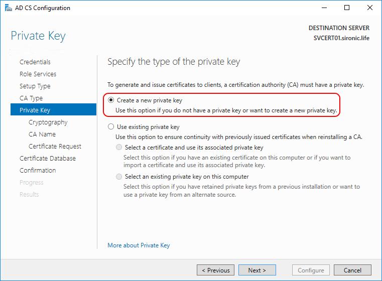 Private Key AD CS Configuration