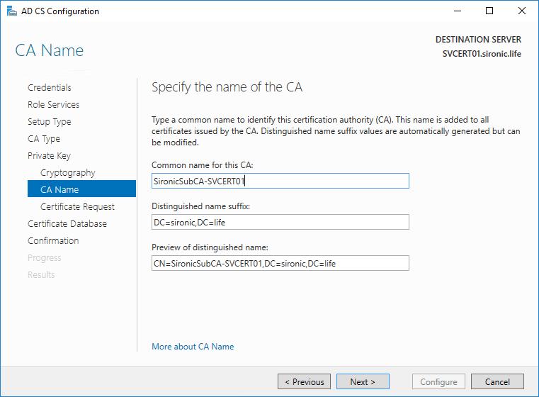 CA name AD CS Configuration
