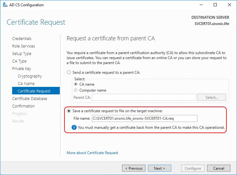 parent CA AD CS Configuration