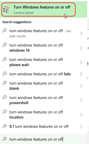 Windows Features on or off