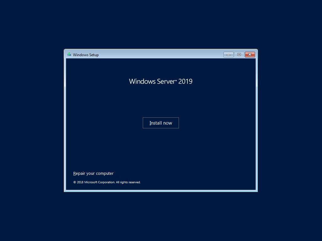 windows server 2019 install