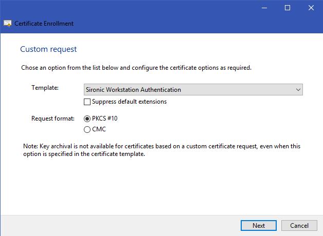 custom request certificate enrollment