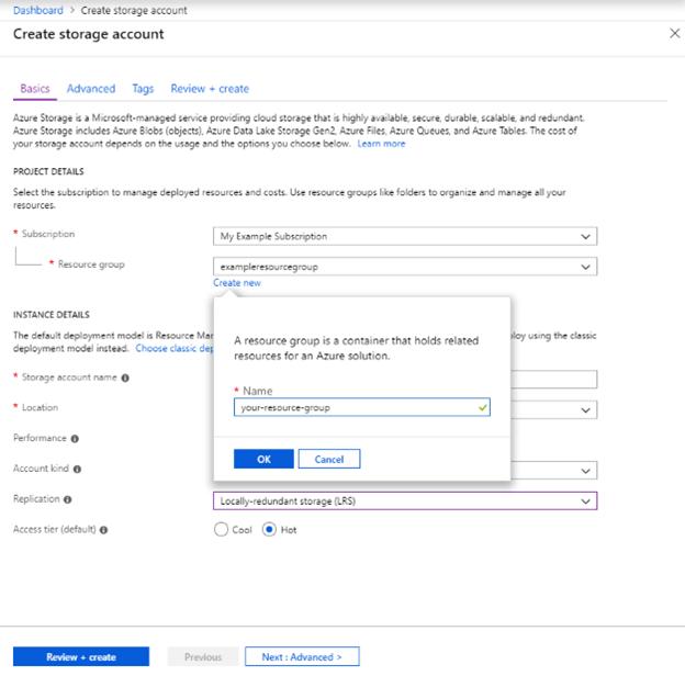Creating a Azure storage account