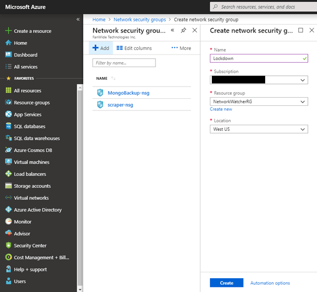 Network Security Group in Microsoft Azure