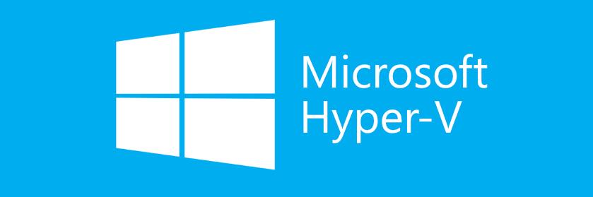 Microsoft Hyper-V logo blue background