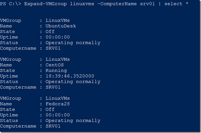 Viewing all properties of an expanded VM group
