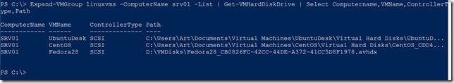 Piping Expand-VMGroup to another Hyper-V command