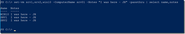 Setting notes on multiple VMs