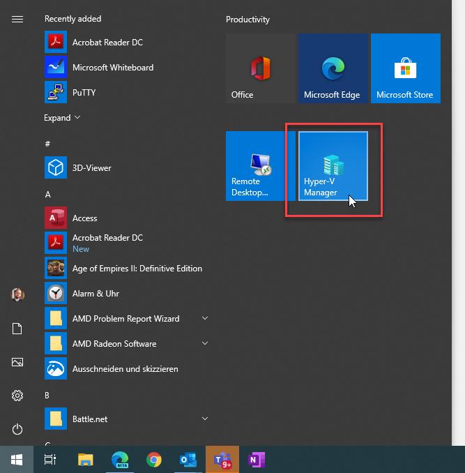 WIndows 10 start menu, Hyper-V