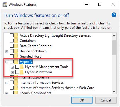 Disable Hyper-V Windows 10