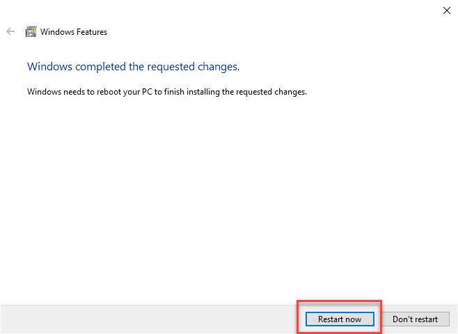 Rebooting Windows 10 after removing Hyper-V