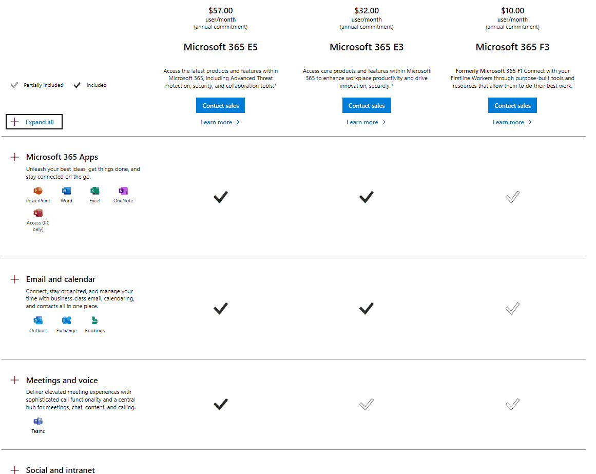 Comparing M365 plans