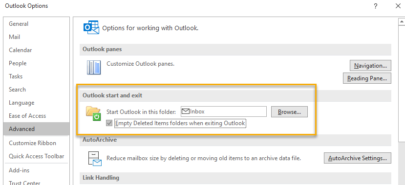 Outlook Advanced Options