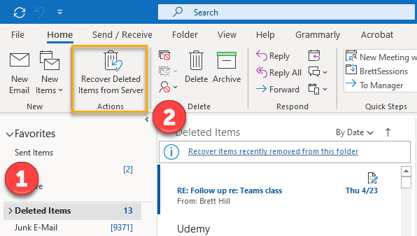 Recovering soft-deleted mail in Outlook