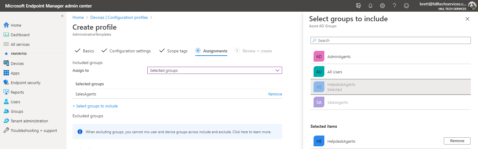 Microsoft EndPoint Manager Security Groups