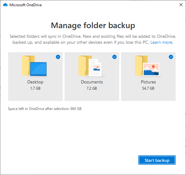 Microsoft OneDrive Known Folder Moves