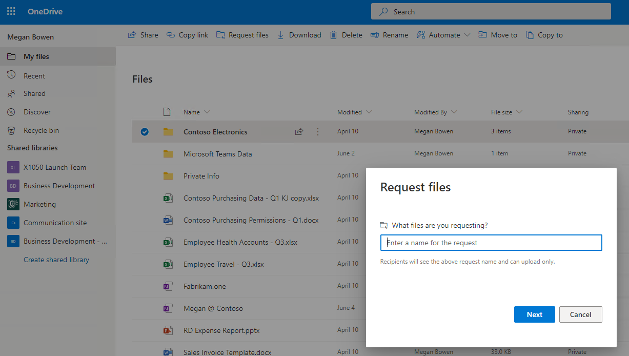 OneDrive For Business Request Files