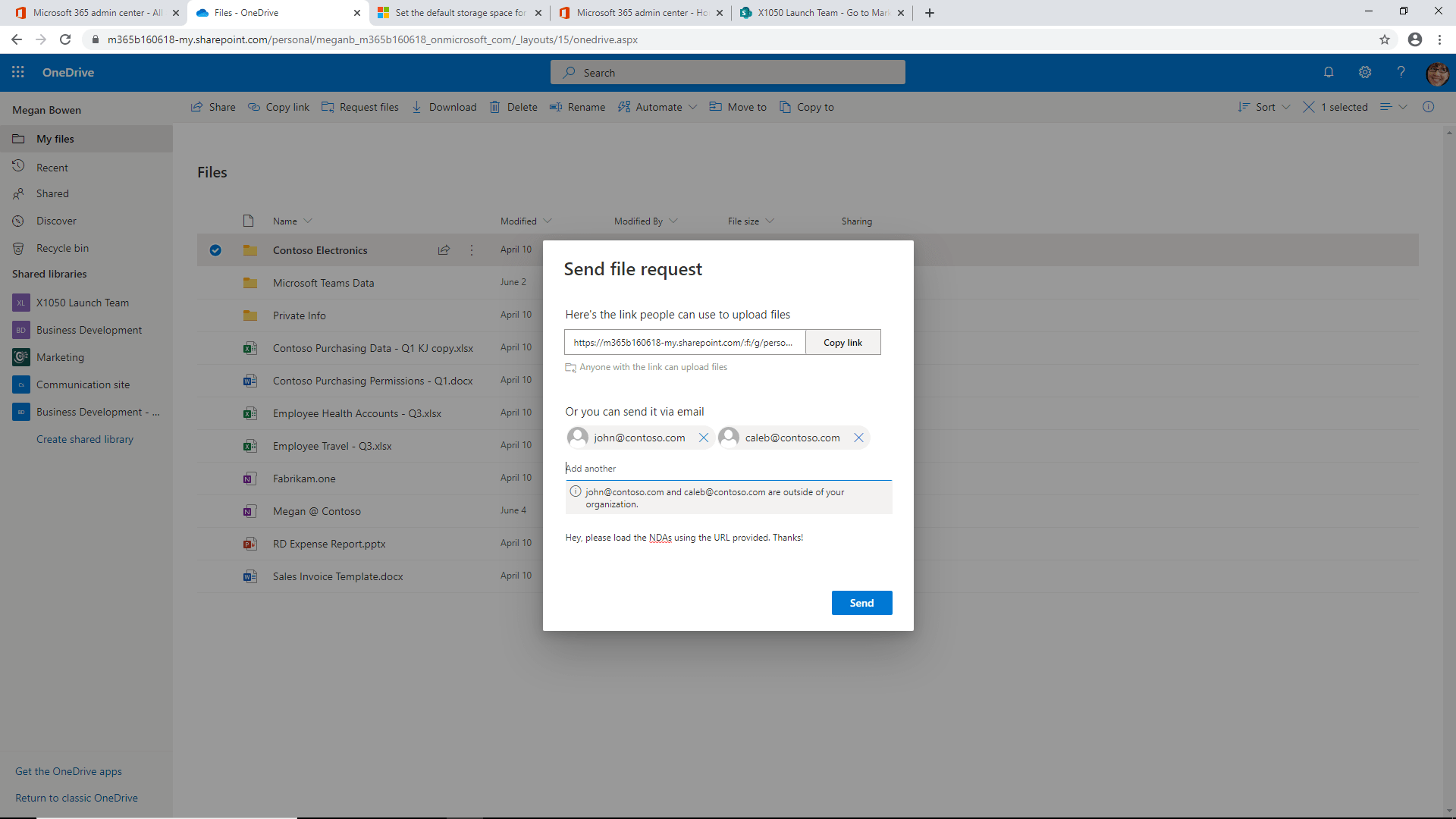 OneDrive For Business Send File Request