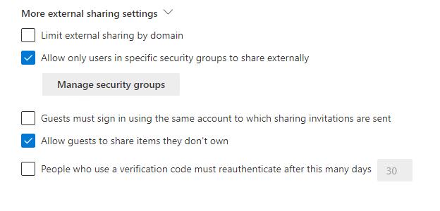 OneDrive SharePoint External Sharing Settings